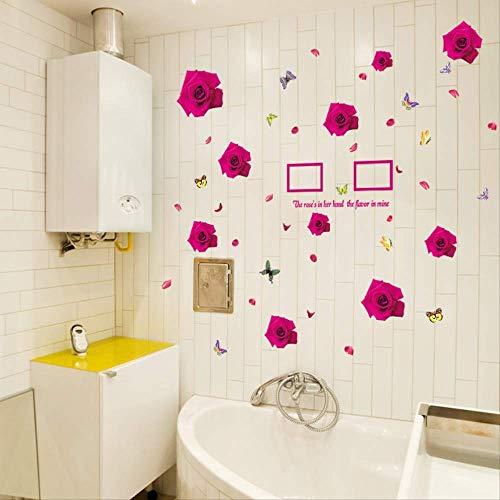 LONGWDS Marco de Fotos Vinilos Marco romántico Rose Etiqueta de la Pared, Conveniente for el Dormitorio de la Sala extraíble Menaje Impermeable Etiqueta 148 x 103cm
