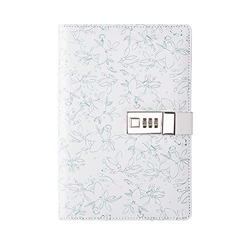 Lvbeis Cuaderno Bloc de Notas con Contraseña Bloqueable Cuaderno Portátil Fresco y Simple Fácil de Escribir Papel Grueso Tapa Dura Escribiendo Sin Problemas,A