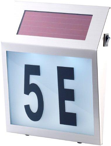 Lunartec Solar Hausnummer: Solar-LED-Hausnummernleuchte mit Edelstahl-Gehäuse und Licht-Sensor (Hausnummer beleuchtet)