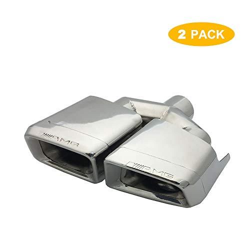 Super-ZS 2 × Auto modifizierter Auspuff Heckhals Silber Vierkantmund Doppelausgang Y-Typ Schalldämpfer (geeignet für Mercedes-Benz W204 / C Klasse / W212 / E Klasse/AMG / C63 / E63)