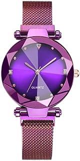 ALCENTIS - Nouveauté Montre Femme - Bracelet milanaise Violet - Cadran Violet avec 4 Petits Brillants