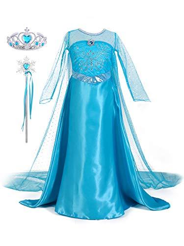 YONIER Costume da Principessa Elsa per Bambine,Set da Principessa Elsa Corona Bacchetta Guanti Treccia,Vestito da Principessa,Regina delle Nevi Frozen-Costume da Bambina