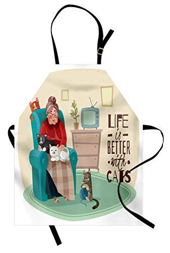 ABAKUHAUS Gatos Delantal de Cocina, Señora En La Butaca Y Gatito, No Se Ensucian Fácilmente Moderna Tecnología de Estampado, Multicolor