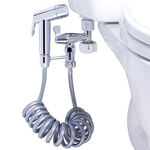 Handheld Bidet Toilet Sprayer Set, 2 Water Flow Sprayer, Telescopic Retractable Spring Hose, T-adapter and 2 Pack Wall or Toilet Mount, Bathroom Sprayer Chrome Finished