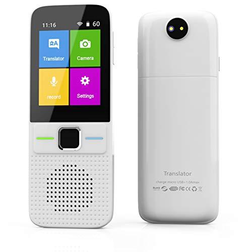 Instant Language Translator Device, Voice Smart Pocket Translator Device 138 Languages Two Way Translator Travel WiFi/Offline 2.4 Inch Touch Screen Camera Translation-White