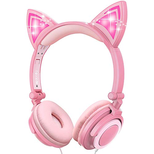 Sunvito Cat Ear Headphones,Cute Kids Headsets with LED Flash Wired Mode, Over Ear Foldable Kids Earphones for Girls Boys Cosplay Ipad Tablet (Pink)