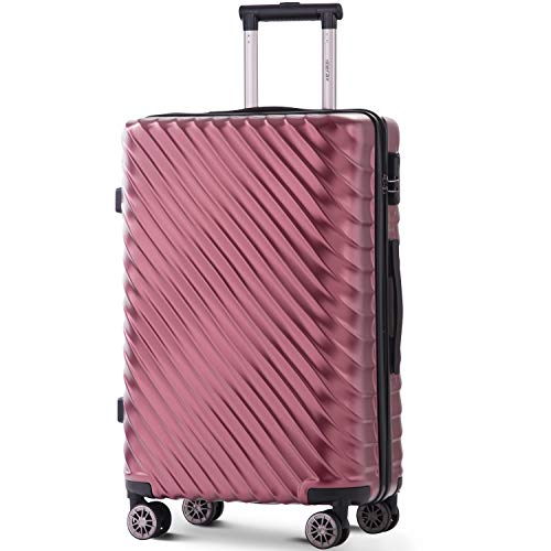 Merax Hard Luggage Lightweight Spinner Suitcases 4 Wheels Spinner Durable ABS+PC Trolley Travel Case with Lock (20/24/28/Set of 3) (M-24, Wine Red)