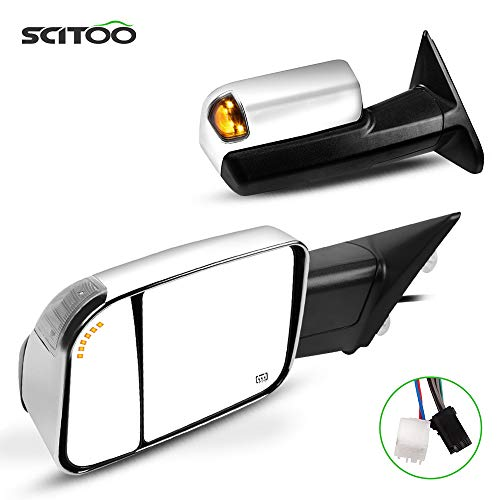 SCITOO Towing Mirrors Tow Mirrors Chrome Truck Mirrors fit for 2010 for Dodge for Ram 2500 3500 2011-2018 for Ram 1500/2500/3500 with Pair LH RH Power Adjusted Heated LED Turn Signal Puddle Light
