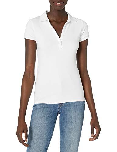 IZOD Junior's Uniform Short Sleeve Interlock Polo, White, Small