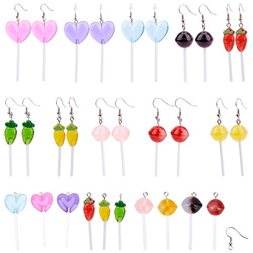 SUNNYCLUE 1 Set 20Pcs Lollipop Earring Dangle Sweet Candy Charms Lollipop Resin Slime Charms with Earring Hooks Polymer Clay Pendants for Earring DIY Jewelry Making