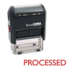 """Two-sided ink pad gives you double the impressions Attractive, clear mount allows you to accurately line up your stamp Ink pads are replaceable and re-inkable with ExcelMark self-inking ink Prints in red ink Impression area: 9/16"""" x 1-1/2"""", Stamp imp..."""