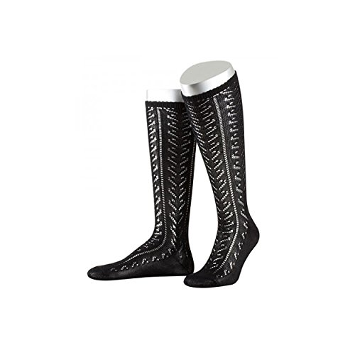 ALMBOCK Trachten Kniestrümpfe Damen - mit praktischen Komfortbündchen aus Lycra - Socken für Lederhose oder Dirndl schwarz