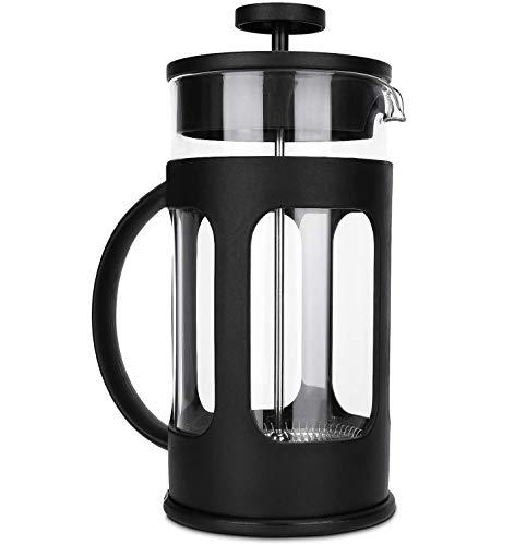 Cafetera Francesa Acero Inoxidable,Prensa Francesa de Vidrio con Émbolo de Acero Inoxidable y Agarradera de Plástico,para Café y Té, Resistente al Calor, Fácil de Limpiar(350 ml)