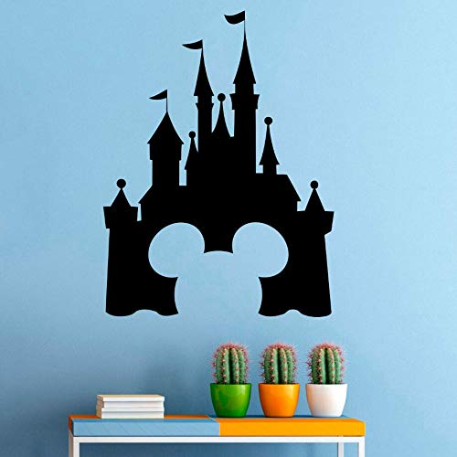 Princess Castle Vinyl Wandaufkleber Maus Design Wandtattoo Fairytale Interior Nursery Decor Removable Castle Wandbild -63x48cm