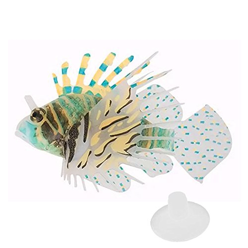 Gosear® de réservoir de Poissons Réservoir de Poissons d'aquarium flottantes rougeoyante Silicone coloré Lionfish Ornements aménagement paysager Poissons artificiels décorations Accessoires Couleur 1