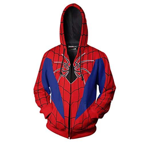 WGS Marvel Superheld 3D Anime Print Zip Shirt Spiderman Langarm-Sweatshirt, A, XL