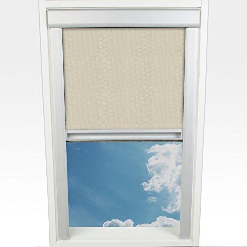 HOMELIA Dachfensterrollo Thermo Verdunklung mit seitlichen Führungsschienen/Verschiedene Größen / 038 x 054 cm beige/Silber/für Velux-Dachfenster/Rückseite thermobeschichtet