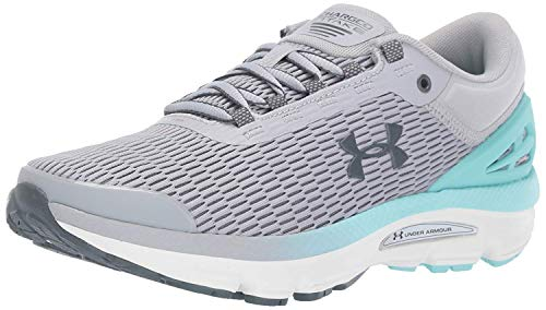 Under Armour Women's Charged Intake 3 Running Shoe, Mod Gray (101)/Neo Turquoise, 12