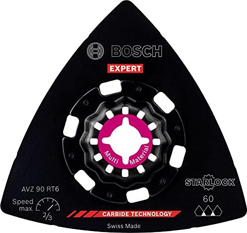 Bosch Professional 1x Hoja de multiherramienta Expert Sanding Plate AVZ 90 RT6 (para Plásticos con fibra GFK, CFK, Ø 90 mm, grano 60, accesorios Multiherramienta)