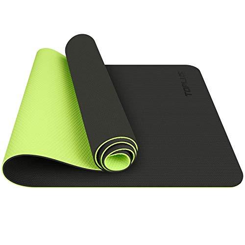 TOPLUS Tappetino da Yoga, Tappetino da Yoga Imbottito e Antiscivolo Fitness Pilates e Ginnastica con Cinturino di TPE,180 x 60 cm (Verde)
