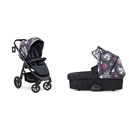 Hauck Saturn R Duoset All-Terrain Sportwagen + Beindecke + Babywanne, drehbar, bis 25 kg, Getränkehalter, höhenverstellbar, kompakt faltbar, kompatibel mit Babyschale, Wild Blooms