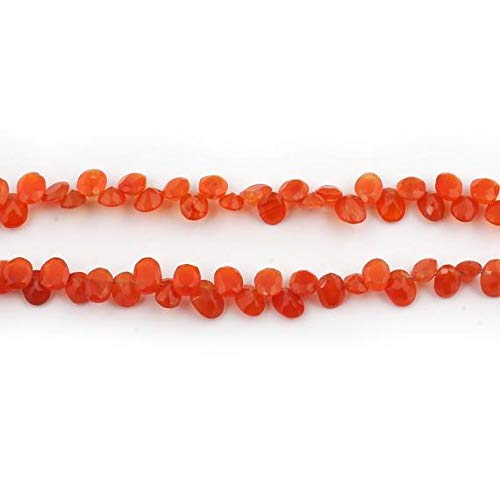 World Wide Gems Big Halloween Sale 1 Strand Rare Carnelian Faceted Oval Beads Cut Stone Briolettes - Side Drill Cut Stone Necklace 5x4mm-7x5mm 8 Inch SB239