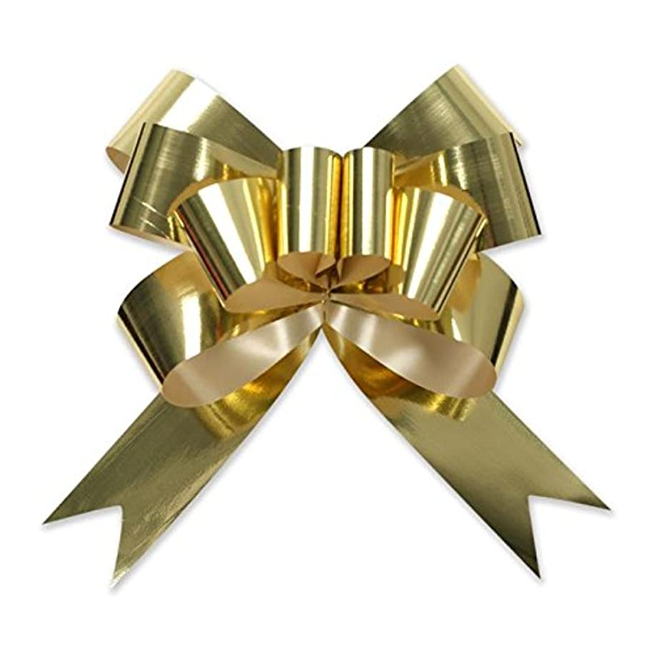 Berwick Offray 3900415 Butterfly Ribbon Pull Bow, 2'' Diameter with 8 Loops, Gold 100 Pieces