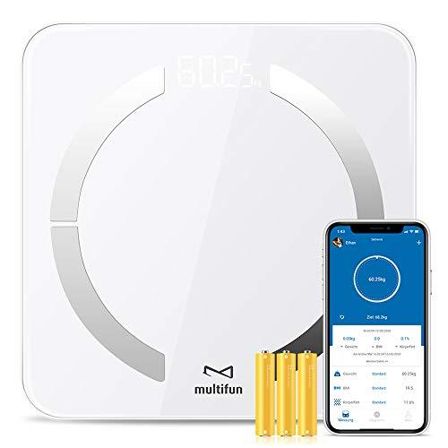 multifun Körperfettwaage Digitale Personenwaagen Bluetooth Körperanalysewaage mit App Smart Waage Körperwaage für Körperfett,BMI, Muskelmasse, Protein, BMR, Max 180kg