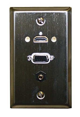 Stainless Steel Wallplate w/ HDMI, VGA, 3.5mm : 75-642