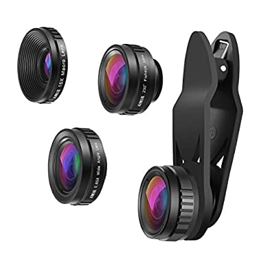 AMIR Phone Camera Lens Kit, 230°Fisheye Lens + 0.65X Super Wide Angle Lens + 15X Macro Lens, Clip on 3 in 1 HD for iPhone Camera Lens for iPhone X, 8/7 Plus/7, Samsung Android Smartphones