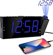 """OnLyee Projection Digital Alarm Clock - Loud Ceiling Clock for Bedroom - Alarm Large 7"""" LED Display & Dimmer - USB Charging and Battery - Backup for Heavy Sleepers Kids, Elders"""