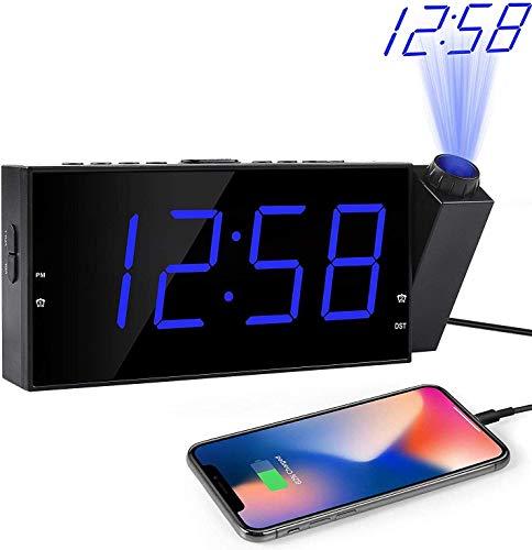 "OnLyee Projection Digital Alarm Clock | Loud Ceiling Clock for Bedroom | Alarm Large 7"" LED Display & Dimmer 