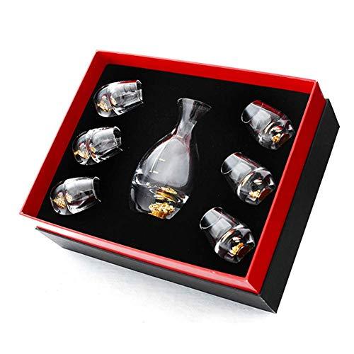MADHEHAO Juego de Sake, Juego de Vino de Cristal, Vasos de Sake japonés con 1 Botella de Jarra de Sake y 6 Tazas, para Vino japonés frío o Caliente, Juego de Regalo de inauguración de la casa de cump