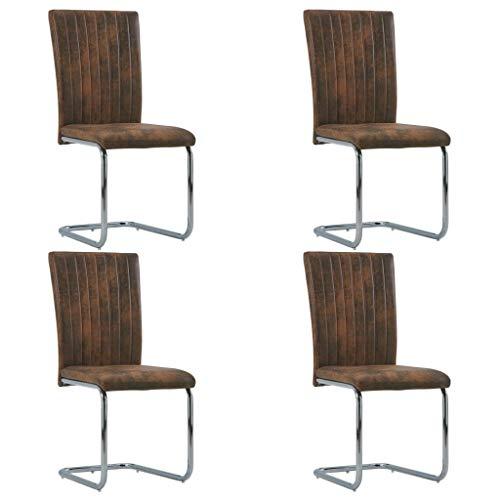 vidaXL 4X Freischwinger Esszimmerstuhl Schwingstuhl Stuhl Set Stühle Polsterstuhl Essstuhl Küchenstuhl Wohnzimmerstuhl Hochlehner Braun Wildleder-Optik
