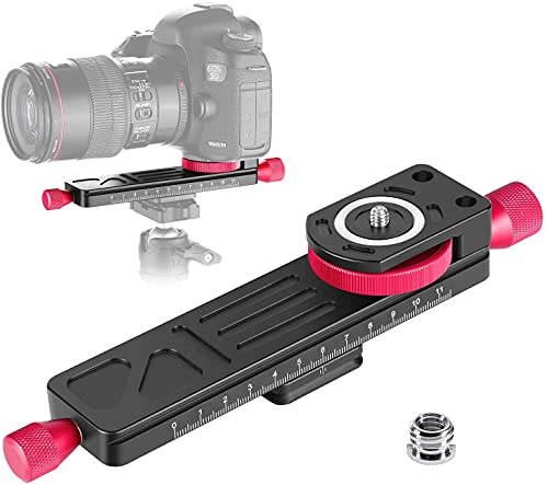 CAVIX Macro Focusing Focus Rail Slider/Close-up Shooting Clamp Plate All Metal Wormdrive 115mm Adjust w 1/4' Screw &3/8' thread for DSLR Camera Tripod Ballhead, Compatible w Arca RRS Lever Clamp W-160