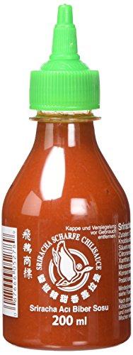 FLYING GOOSE Sriracha scharfe Chilisauce - scharf, grüne Kappe, Würzsauce aus Thailand, 1er Pack (1 x 200 ml)