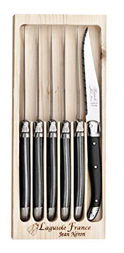El estuche de madera de 6 carnes negros Laguiole con hoja micro dentees.