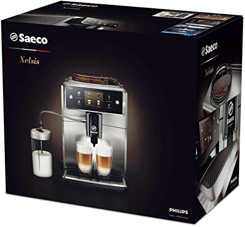 """Saeco Xelsis Super Automatic Espresso Machine, Titanium Metal Front, SM7684/04 & CA6700/47 Espresso Machine Liquid… 15 Premier programming - the xelsis lets you program everything. From milk and espresso volume to dose, temperature, and texture only thing holding back your morning drink is you User profile - and, once you have your favorite drinks dialed-in, you can save them to your dedicated profile for easy access Touchscreen control - The xelsis showcases its programming prowess with an accurate 3. 5"""" Touchscreen"""