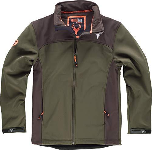 Work Team Cazadora workshell con dos bolsillos laterales, combinada. HOMBRE Verde Caza/Marron...