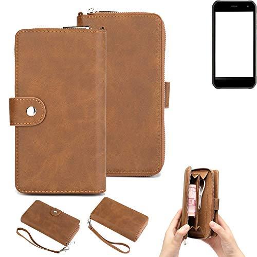 K-S-Trade® Handy-Schutz-Hülle Für -Cyrus CS 40- Portemonnee Tasche Wallet-Case Bookstyle-Etui Braun (1x)