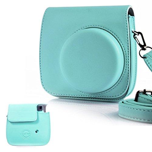 HelloHelio Tasche für Fujifilm Instax Mini 9 / Mini 8 Sofortbildkamera - Premium Kunstleder Schutzhülle Reise Kameratasche Hülle Abdeckung mit Abnehmbaren Kameragurt Schultergurt Mint