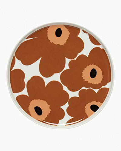 Marimekko - Unikko - Plate - Teller/Dessertteller - Porzellan - Weiss/braun/schwarz - D 20cm