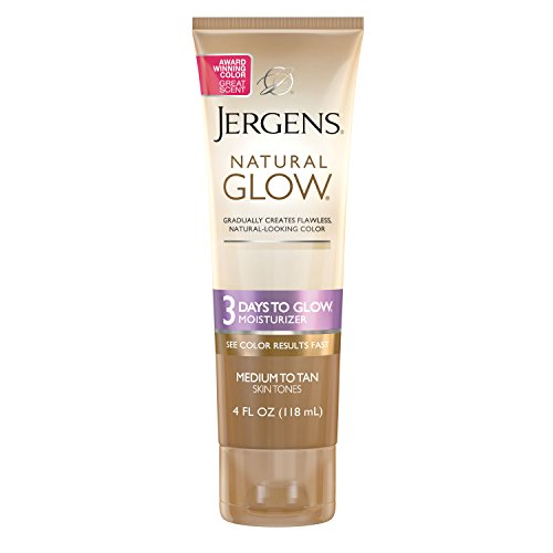 Jergens Natural Glow 3-Day Self Tanner, Sunless Tanner for Medium to Deep Skin Tone, Sunless Tanning Lotion Daily Moisturizer, for Streak-free Color, 4 Ounce