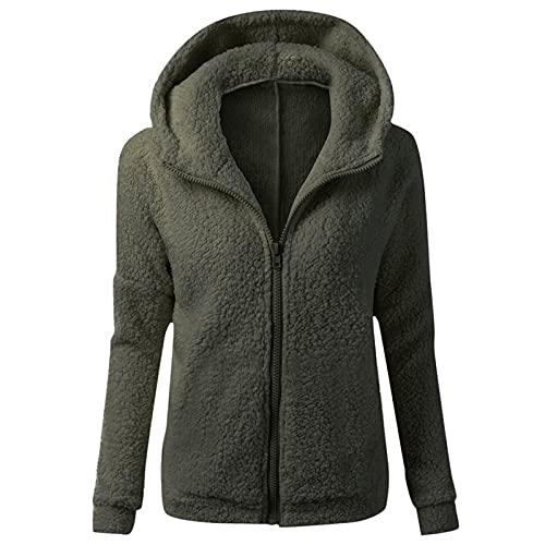 Cerlemi Damen Warme Outwear Casual Mantel Pullover Jumper Sweatshirt Kapuzenpullover Mantel Baumwollmantel Jacke Langarm Wolle Reißverschluss Mantel Baumwollmantel Coat