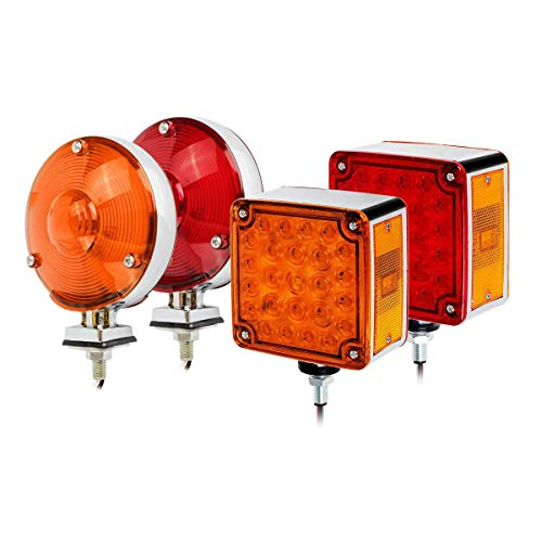 Partsam Double Face Truck Trailer Fender Lights Kit, 2Pcs Square Fender Double Face Stop Turn Signal Tail Lights Lamps Stud Mount + 4 Round Dual Faced Star 24 LED Sealed Pedestal Lights
