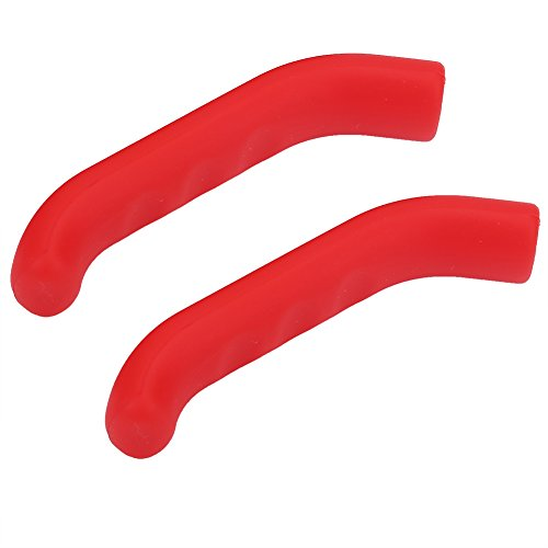 Keenso 2 Piezas Protectores para Manetas de Bici, Protector Antideslizante Impermeable para Maneta de Freno(Rojo)