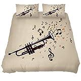 MUOOUM - Juego de colcha de 3 piezas, diseño de trompeta con notas musicales, ultra suave y fácil de limpiar, tamaño único, Microfibra, Varios Colores, Single 被套(55 x 79) + 1 枕套(20 x 30)inch