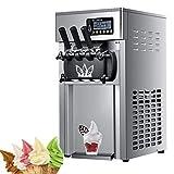 Máquina de helados comercial, 1200W 16L-18 / H Batidora de acero inoxidable Máquina para hacer bebidas congeladas Máquina para hacer helados de cono dulce de 3 sabores para uso comercial o doméstico