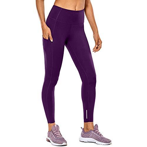 Yowablo Damen Stretch Leggings Hohe Taille und Enge Fitness Yoga Hosen nackt versteckte Tasche Yoga Hosen (L,1Lila)