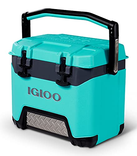 Igloo BMX 25 Quart Cooler with Cool Riser Technology, Fish Ruler, and Tie-Down Points - 11.29 Pounds - Aquamarine and Gray